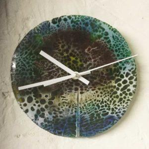 Batik style glass art clock