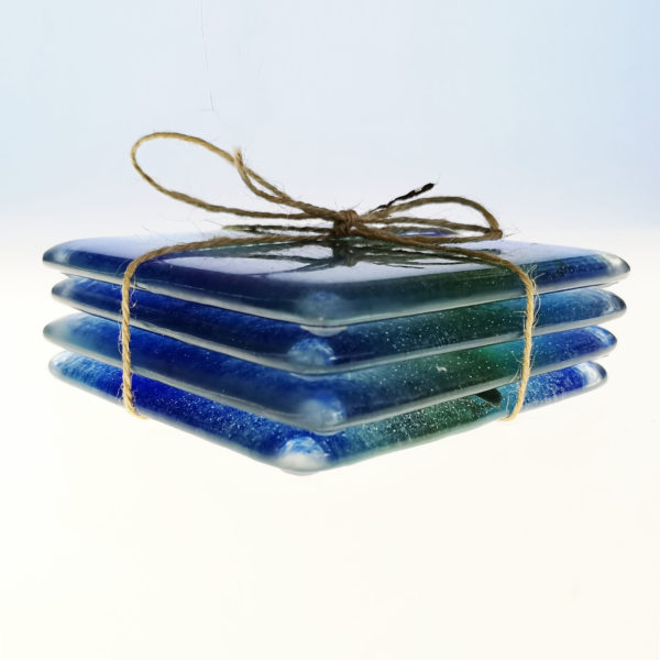 Dragonfly coasters, fused glass coasters with dragonfly design, set of 4 1