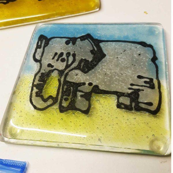 Elephant design fused glass coaster, choose your colour, set of 4 1