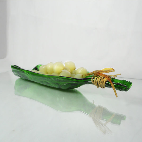 Recycled wine bottle olive dish. A fused glass olive dish made from a recycled wine bottle 5