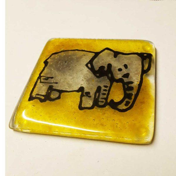 Elephant design fused glass coaster, choose your colour, set of 4 2