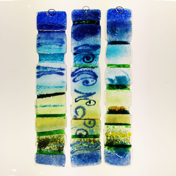 Blues and greens, fused glass suncatchers 2