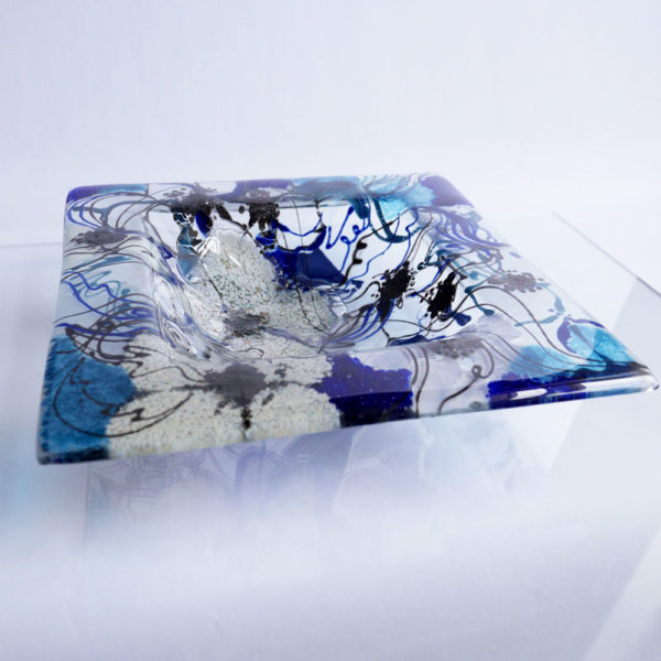Fused glass fruit bowl or serving bowl in Clematis Design 1