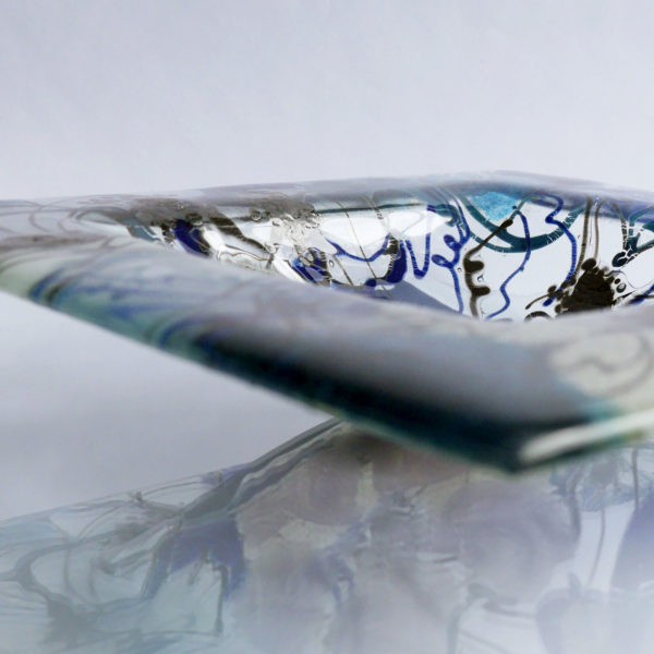 Fused glass fruit bowl or serving bowl in Clematis Design 3