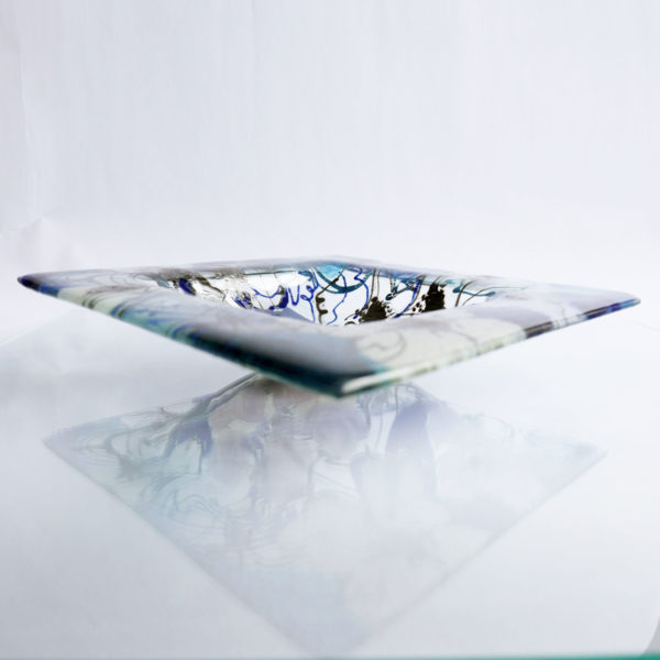 Fused glass fruit bowl or serving bowl in Clematis Design 4
