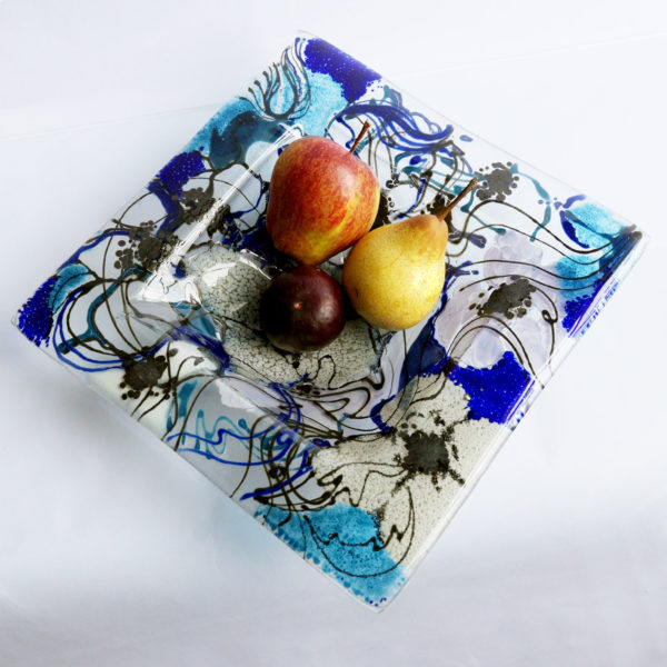 Fused glass fruit bowl or serving bowl in Clematis Design 5
