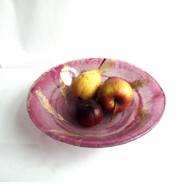 Pink and gold feather bowl 3