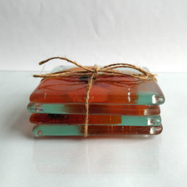 Poppies glass drinks coasters, set of 4 coasters 2