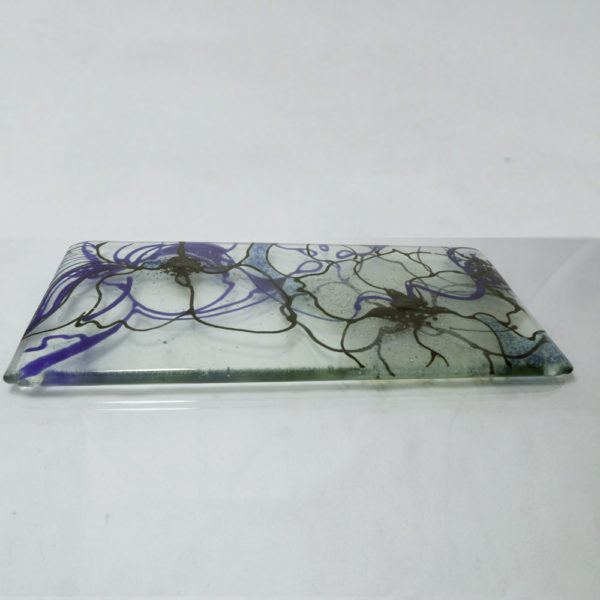 Clematis design fused glass spoon rest 2