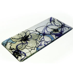 Fused glass spoon rest in clematis design