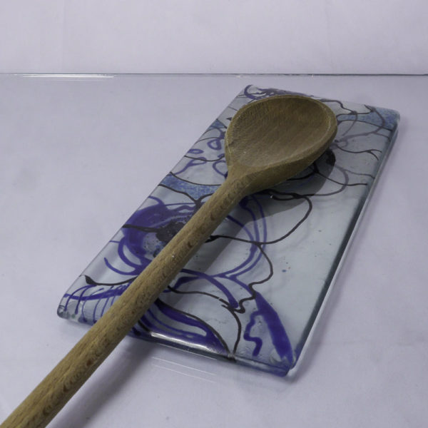 Clematis design fused glass spoon rest 3