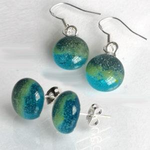 Egyptian blue earrings both studs and hooks