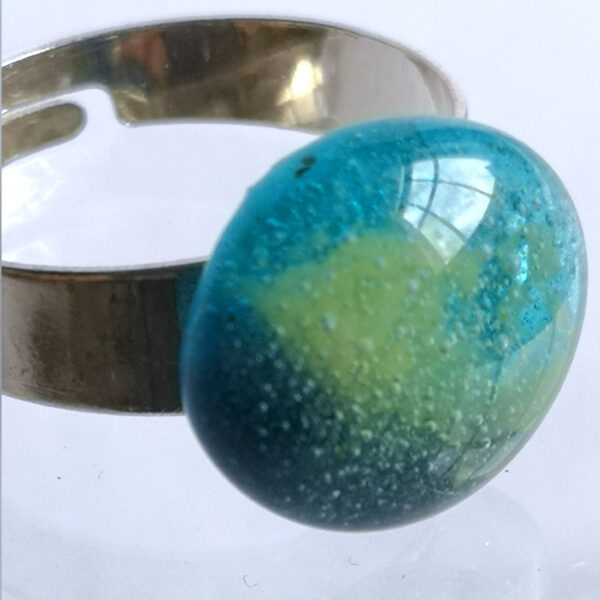 Egyptian blue ring, with a smatter of green 3