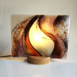 Glass art flame lamp