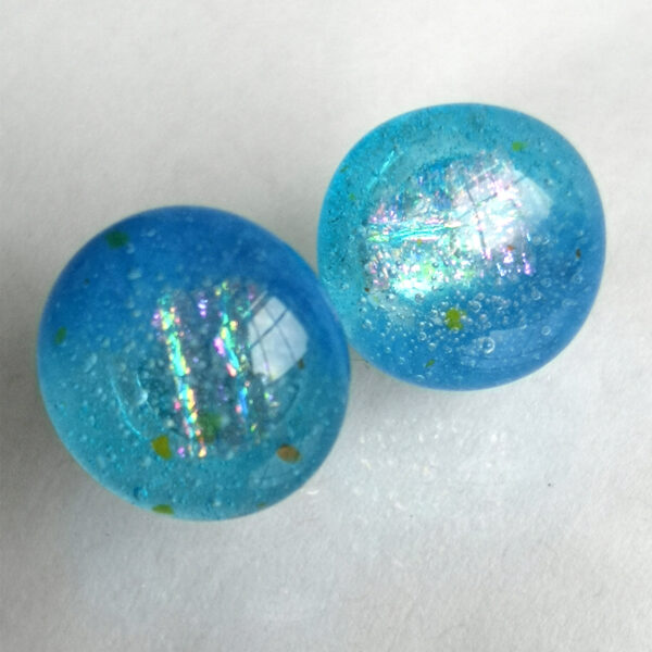 Iridescent sea blue fused glass earrings 1