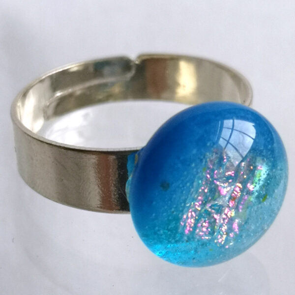 Sea blue fused glass ring