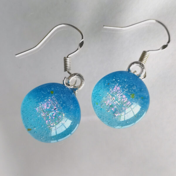 sea blue with sparkles fused glass earrings hooks