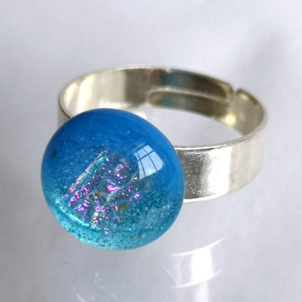 Sea blue fused glass ring 1