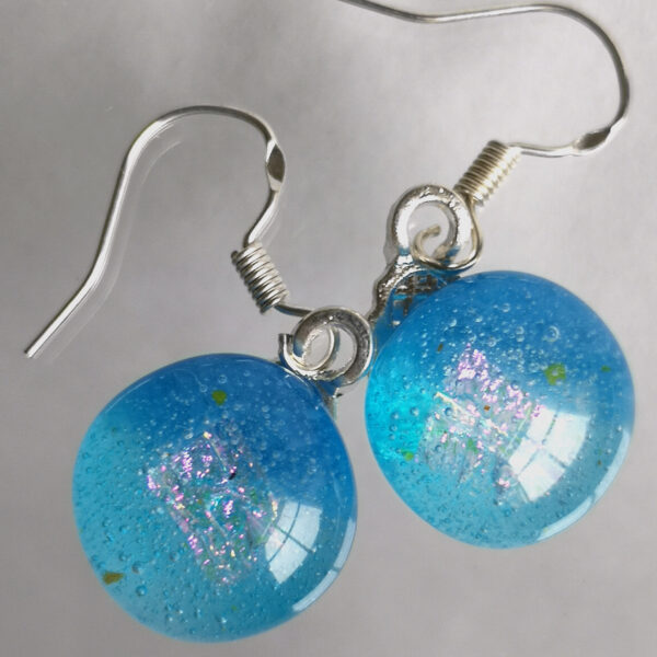 sea blue fused glass earring with hook fastening